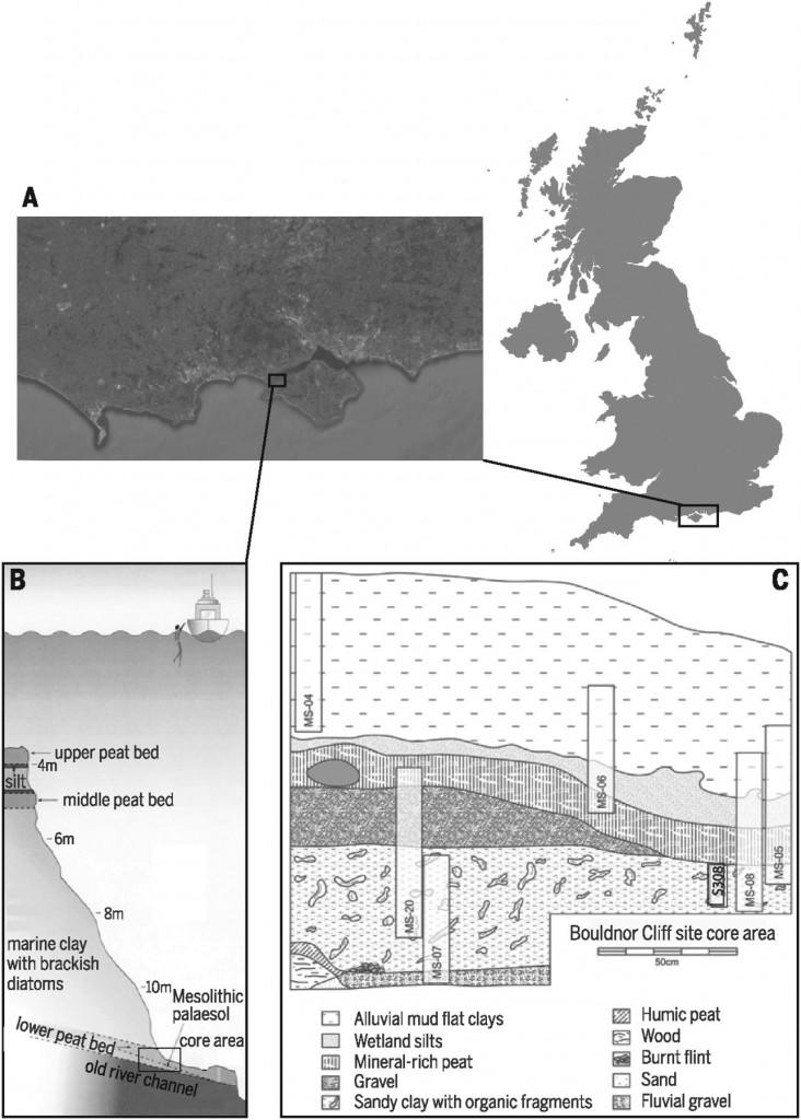 Bouldnor Cliff的位置(A)以及發掘的地點(B)。 圖片來源:Science