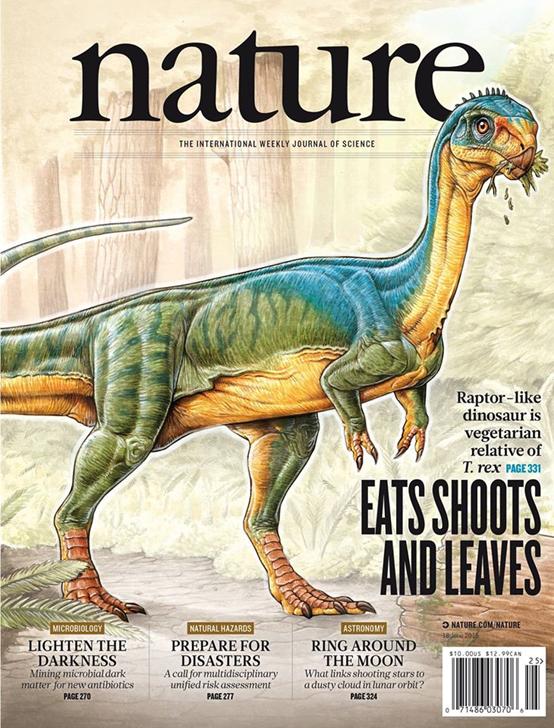 2015年6 月18日出刊的《自然》(Nature)以迭戈蘇亞雷斯智利龍(Chilesaurus diegosuarezi)為封面。