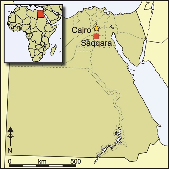 薩卡拉在埃及的位置(P. T. Nicholsona,et al. Antiquity 89, June 2015, pp 645-661)