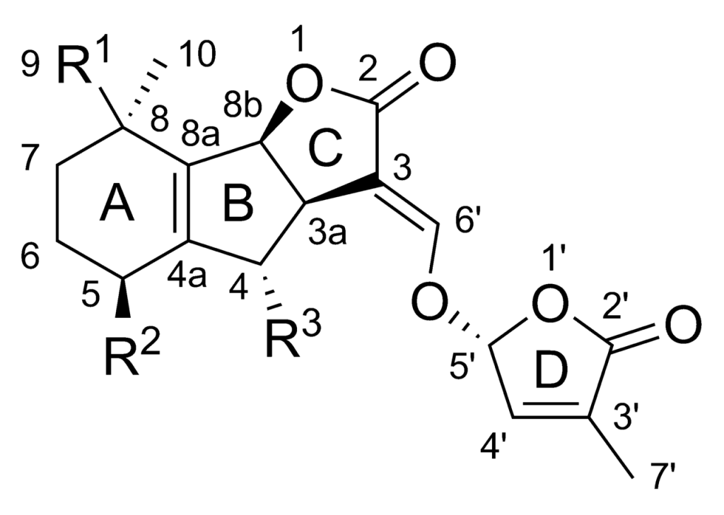 strigolactone的基本結構。圖片來源:wiki