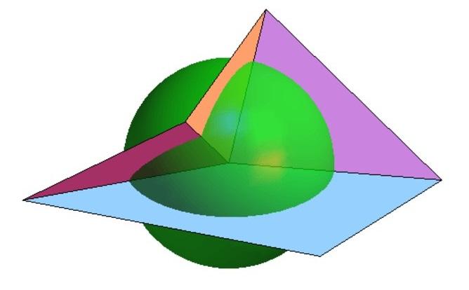 將紙張沿相鄰兩端頂點摺疊,上圖為其投影至球體的數學模擬圖。圖片由湯瑪斯•赫爾(Thomas Hull)提供。