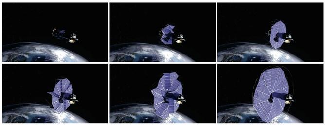 由楊百翰大學(Brigham Young University)、美國太空總署噴射推進實驗室(NASA Jet Propulsion Laboratory)及朗摺紙工作室(Lang Origami)所開發的可延展太陽能陣列,其設計靈感源自摺紙作品,但這種設計並非直接源於三浦摺疊的設計。圖片由楊百翰大學提供。