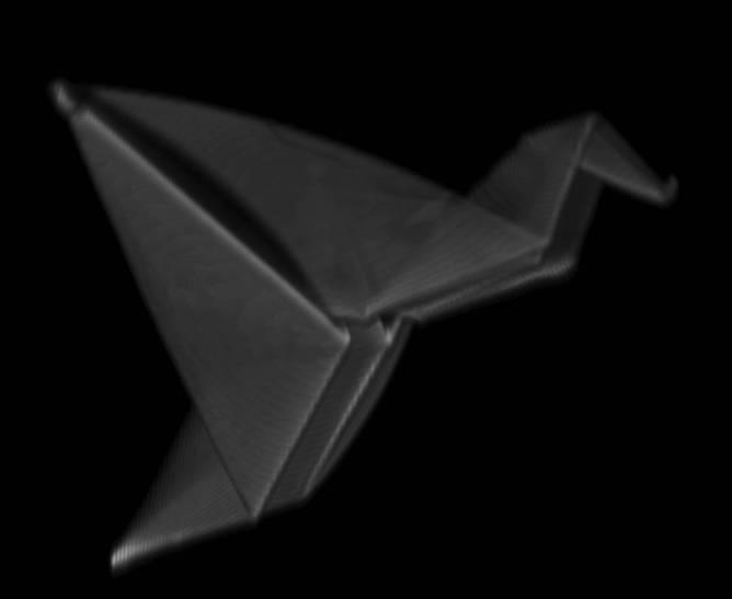 以自行摺疊聚合物製作的鶴鳥,寬度小於一毫米。照片由來自馬薩諸塞大學阿默斯特分校海沃德研究團隊(Hayward Research Group, University of Massachusetts-Amherst)的羅君熙(Jun-Hee Na)提供。