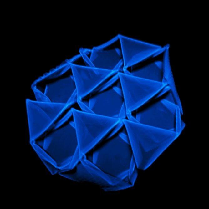 八面體-四面體桁架結構的共焦顯微鏡影像。照片由來自馬薩諸塞大學阿默斯特分校海沃德研究團隊(Hayward Research Group, University of Massachusetts-Amherst)的羅君熙(Jun-Hee Na)提供。