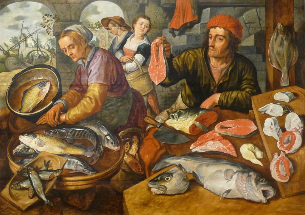 十六世紀歐洲畫家布克萊爾 (Joachim Beuckelaer, c.1533-1575) 筆下的法萊德市場裡魚販兜售魚肉的風景,畫面右下方為鱈魚。法藍德(Flanders)地區位於今日法國、比利時和荷蘭的交界地帶。圖片來源:維基百科。