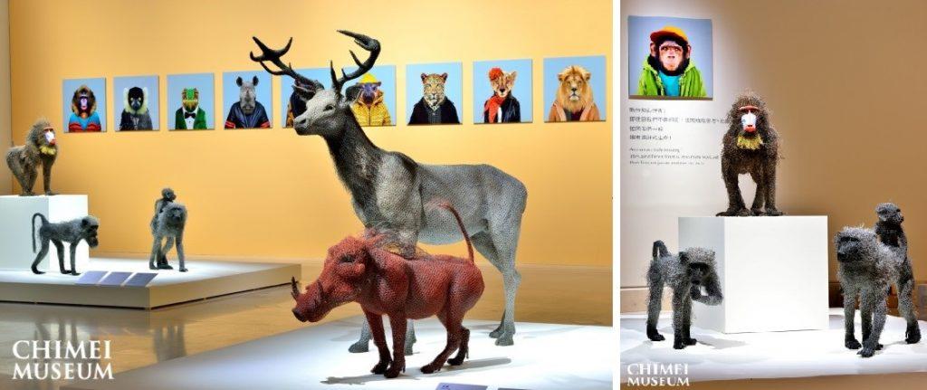 英國藝術家 肯德菈‧海斯特 鍍鋅鐵絲動物:紅鹿與疣豬;山魈;在吃東西的年輕狒狒;狒狒母子。
