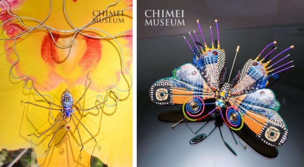 台灣藝術家 蔡爾平作品,蘭花上的大蜘蛛;蝴蝶
