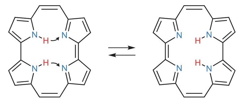 圖2 cis-Porphycene結構轉換示意圖 Reprinted by permission from Macmillan Publishers Ltd: Nature Chemistry DOI: 10.1038/nchem.2552. © 2016