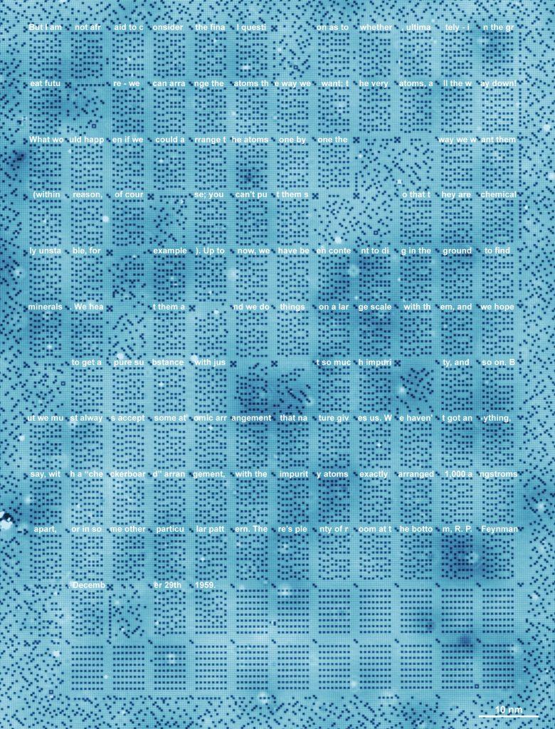 圖3、奧圖團隊將1959年費曼演講「在微小的世界中還有更多的空間」的節錄儲存於該記憶體。(來源:參考資料2)