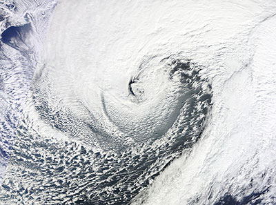The January 2013 Northwest Pacific bomb cyclone east of Japan, which met the conditions of a bomb cyclone. (Courtesy: NASA)