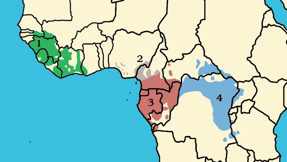 四個亞種黑猩猩的地厓分佈:1. Pan troglodytes verus、2. P. t. vellerosus、3. P. t. troglodytes、4. P. t. schweinfurthii