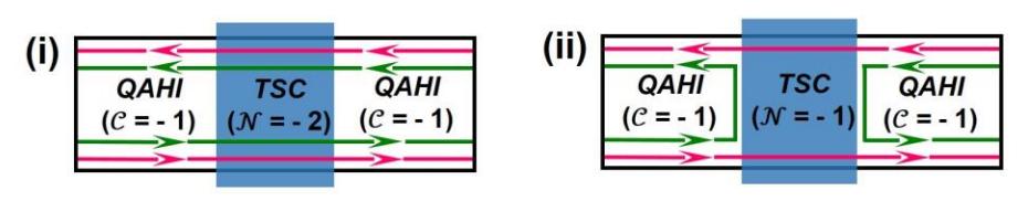 圖一:拓樸超導體(topological superconductor, TSC)和拓樸材料擺在一起。QAHI為一種拓樸材料中常見的拓樸態。(i)一般情況下TSC能讓一組馬約拉納粒子(紅色和綠色箭頭)通過,無法將他們分開。(ii)在特殊的磁場中,TSC能將他們分開。如圖所示,在TSC的部分只有紅色箭頭。(圖片來源:參考資料[1])