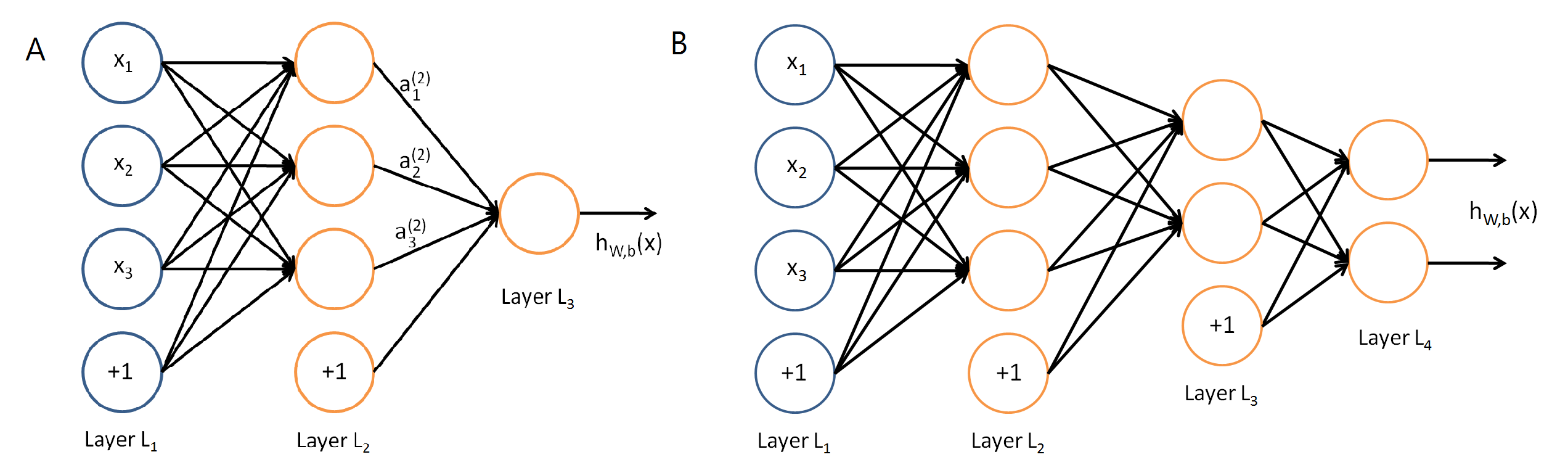 圖一:A. 「淺」神經網路,只有一層隱藏層。B.深度神經網路,有兩層隱藏層。(圖片來源: Stanford Deep Learning Lab)