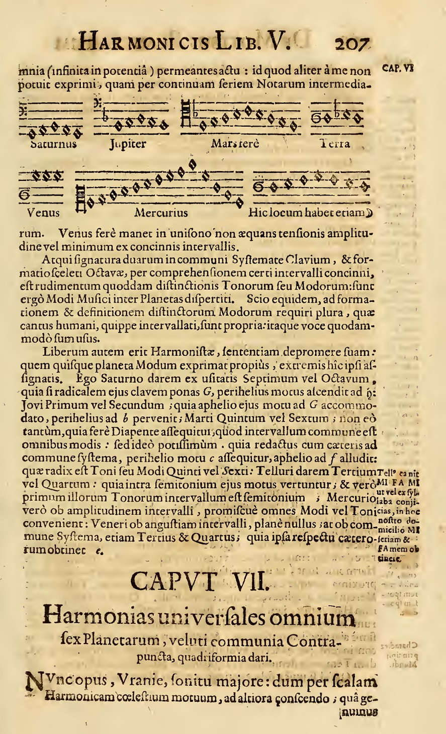刊於《天地間之和諧》的行星組曲(圖像來源:Archive.org)對應之星體依序為:(上排)土星、木星、火星、地球;(下排)金星、水星、月球